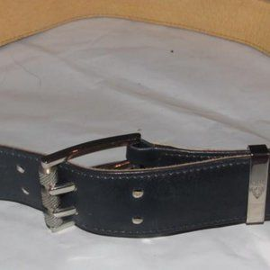 Vintage Early Gucci Navy Blue Chrome Buckle
